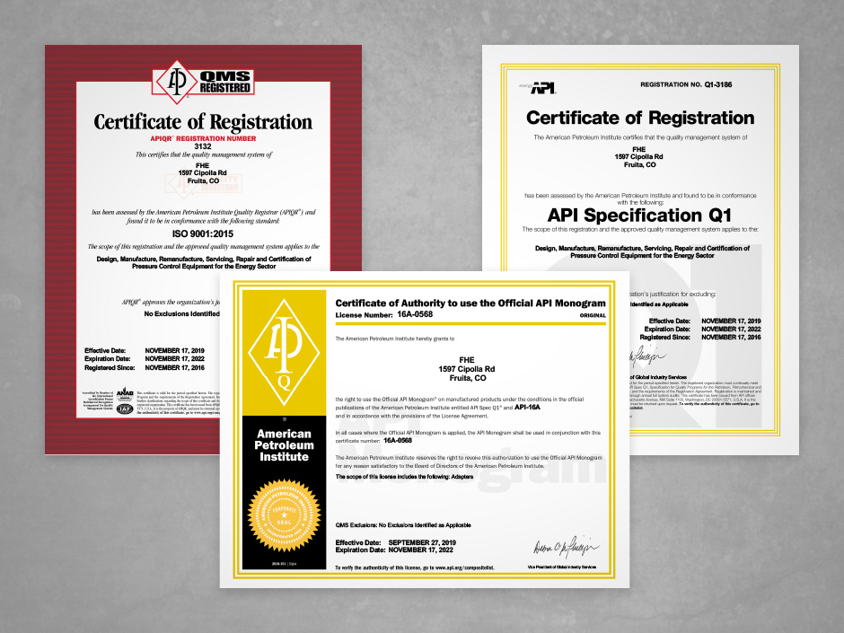FHE USA LLC API Spec Q1 and ISO 9001:2015 Certified